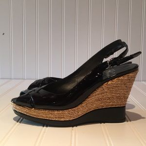 NWOT Stuart Weitzman Black Patent Leather Wedges 8